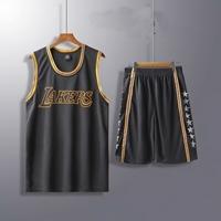 ชุดกีฬานักบาสเก็ตบอลเด็กโต-LAKERS-สีดำ
