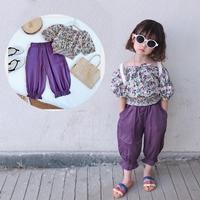 ชุดเสื้อลายดอก_กางเกง-โทนสีม่วง