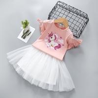 ชุดเสื้อกระโปรงหนูน้อยยูนิคอร์น-unicorn-สีชมพู