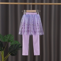 กระโปรงกางเกงเลกกิ้ง-Frozen-สีม่วง-