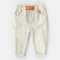 กางเกงเด็กขายาว-แต่งปลายขาพับ-สีเบจ