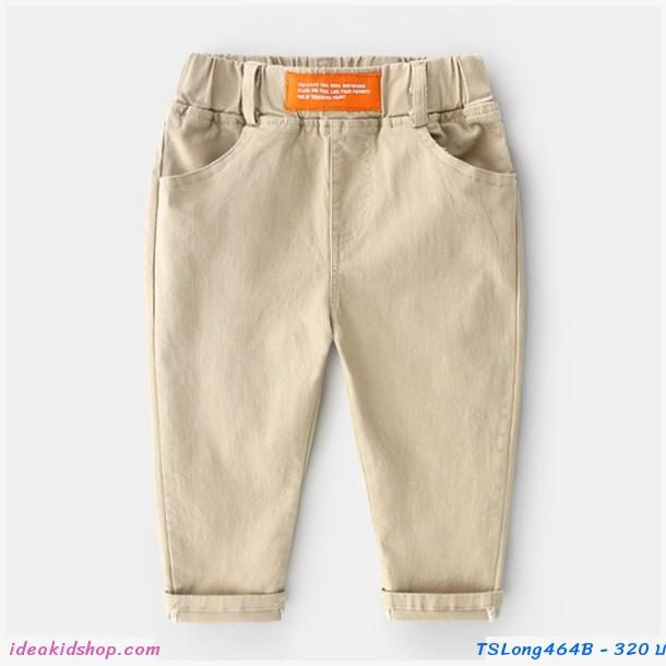 กางเกงเด็กขายาว แต่งปลายขาพับ สีกากี