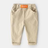 กางเกงเด็กขายาว-แต่งปลายขาพับ-สีกากี