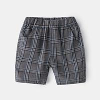 กางเกงเด็กขาสั้น-ลายสก็อตสีเทาเข้ม