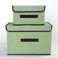 กล่องผ้าเก็บของอเนกประสงค์-สีเขียว(ได้2ชิ้น)