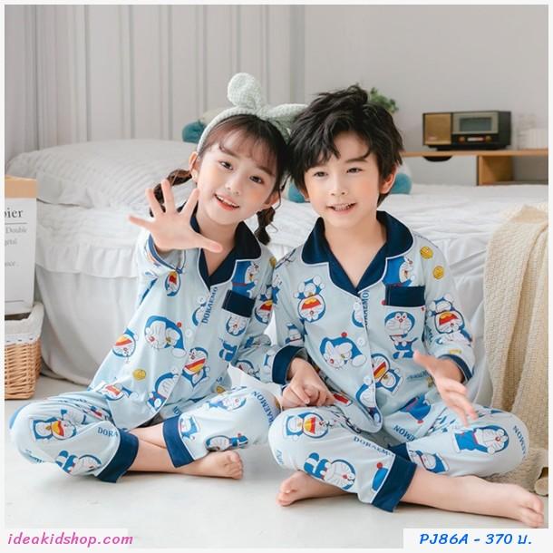 ชุดนอนเด็กคอปกแขนยาวขายาว ลาย Doraemon