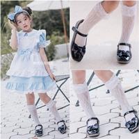 ถุงเท้าลูกไม้แบบยาว-แต่งระบาย-สีขาว