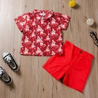 ชุดเสื้อเชิ้ตคอปก_กางเกง-Xmas-สีแดง