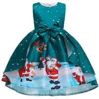 ชุดเดรสผูกโบว์หน้า-Xmas-ลายซานต้าสีเขียว
