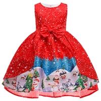 ชุดเดรสผูกโบว์หน้า-Xmas-ลายหิมะหมู่บ้านซานต้าสีแดง