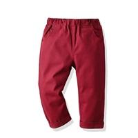 กางเกงเด็กขายาว-พื้นเรียบ-แต่งปลายขาพับ-สีเลือดหมู