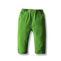 กางเกงเด็กขายาว-พื้นเรียบ-แต่งปลายขาพับ-สีเขียว