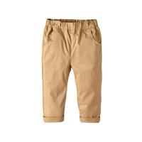 กางเกงเด็กขายาว-พื้นเรียบ-แต่งปลายขาพับ-สีกากี