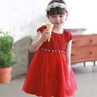 เดรสเจ้าหญิง-ผ้าลูกไม้-แต่งคริสตัล-สีแดง