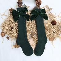 ถุงเท้ายาวแฟชั่น-ติดโบว์-สีเขียว