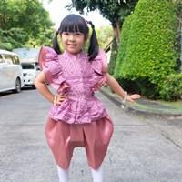 ชุดไทยเด็กหญิง-นางหงส์ลายไทย-สีชมพู