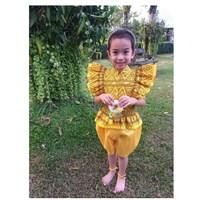 ชุดไทยเด็กหญิง-นางหงส์ลายไทย-สีเหลืองทอง