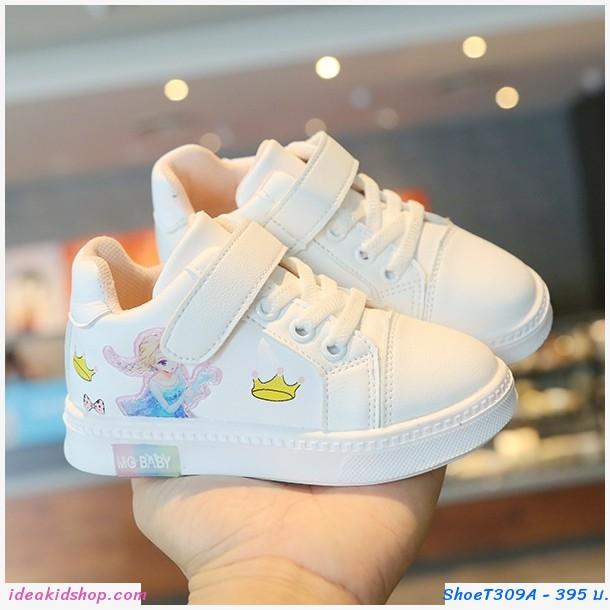 รองเท้าผ้าใบแฟชั่นเด็ก Frozen Elsa สีขาว