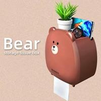 กล่องใส่กระดาษทิชชู่ในห้องน้ำ-ลายหมีBear-สีน้ำตาล
