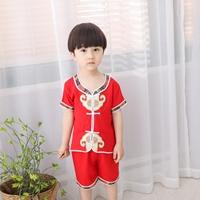 ชุดเสื้อกางเกงจีนขาสั้น-ตี๋น้อย-สีแดง