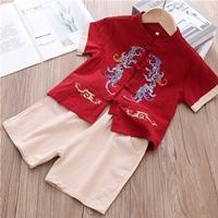 ชุดเสื้อกางเกงจีนขาสั้น-ปักลายมังกร-สีแดง