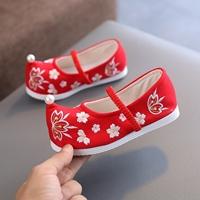 รองเท้าจีนโบราณหัวเชิด-แต่งมุก-สีแดง