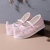 รองเท้าจีนโบราณหัวเชิด-แต่งมุก-สีชมพู