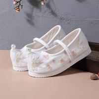 รองเท้าจีนโบราณหัวเชิด-แต่งมุก-สีขาว
