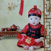 ชุดเสื้อกางเกงเด็กจีน-ฮ่องเต้พร้อมหมวก-สีแดงดำ