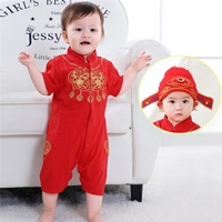 ชุดบอดี้สูทจีนเด็กแขนสั้นพร้อมหมวก-สีแดง