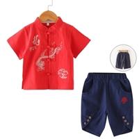 ชุดเสื้อกางเกงจีน-มังกร-สีแดง