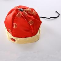 หมวกจีน-คริสตัลแดงแต่งเชือกดำ-สีแดง