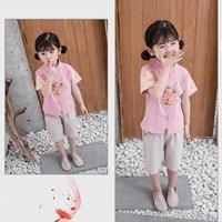 ชุดเสื้อกางเกงจีนคอจีน-ลายหัวมังกร-สีชมพู