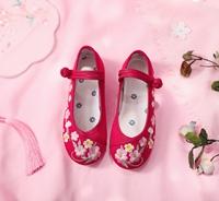 รองเท้าคัทชูจีน-ลายดอกไม้-สีแดง