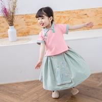 ชุดเสื้อกระโปรงเด็กจีน-อาหมวย-สีชมพูเขียว