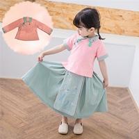 ชุดเสื้อกระโปรงเด็กจีนแขนยาว-อาหมวย-สีชมพูเขียว