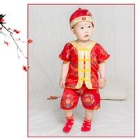 ชุดเสื้อกางเกงเด็กจีน-คอวี-พร้อมหมวก-สีแดง
