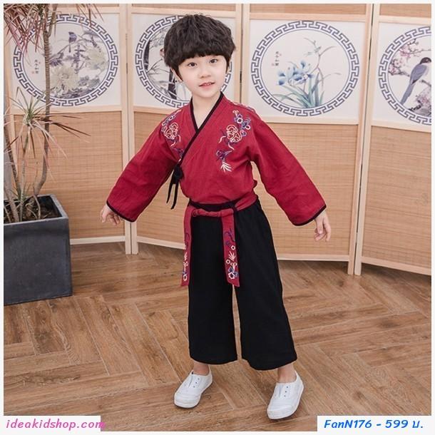 ชุดเสื้อกางเกงเด็กจีนโบราณ หน้าไขว้ สีแดง