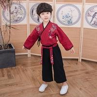 ชุดเสื้อกางเกงเด็กจีนโบราณ-หน้าไขว้-สีแดง