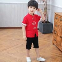 ชุดเสื้อกางเกงจีนตี๋น้อย-ปลายแขนพับ-สีแดง