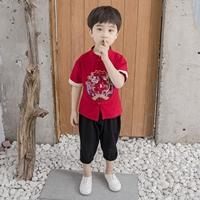 ชุดเสื้อกางเกงจีนแขนพับ-ลายมังกร-สีแดง