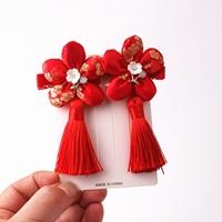 กิ๊บติดผมจีน-พู่ดอกไม้-สีแดง