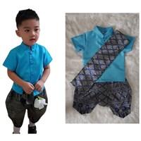 ชุดไทยเด็กชายพร้อมผ้าพาด-พี่หมื่น-สีฟ้าเข้ม
