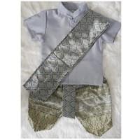 ชุดไทยเด็กชายพร้อมผ้าพาด-พี่หมื่น-สีเทาเงิน