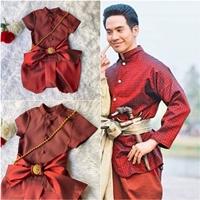 ชุดไทยเด็กชาย-พี่หมื่น-ผ้าทอยกดอก-สีแดงสด