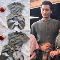 ชุดไทยเด็กชาย-พี่หมื่น-ผ้าทอยกดอก-สีเทาเงิน