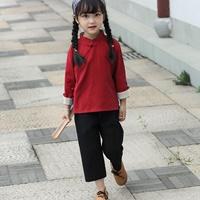 ชุดเสื้อกางเกงคอจีนแขนยาว-สีแดง