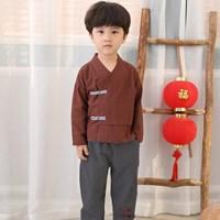 ชุดตรุษจีนคอวีชุดลำลองคุณชาย-สีน้ำตาล