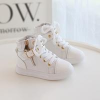 รองเท้าผ้าใบหุ้มข้อ-แต่งซิปข้าง-สีขาว