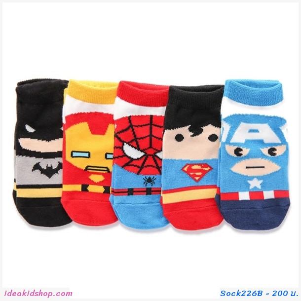 ถุงเท้าสั้นเด็ก ลายSuper Hero(เซต 5 คู่)